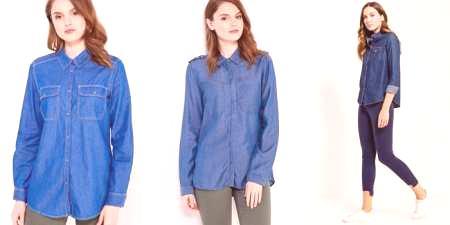 87c422b31dde Denim košeľu so sukne a nohavice - ako vytvoriť štýlový obraz ...